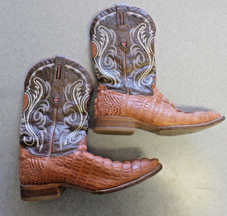 EL GENERAL brown caiman leather, western cowboy boots, Men's 8