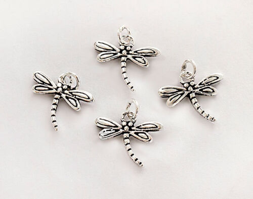 Small charms 925 Sterling Silver 4 Dragonfly Charms  8x11.5 mm