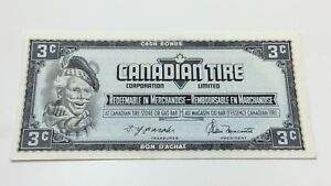 1974-Canadian-Tire-3-Three-Cents-CTC-S4-A-AN-Circulated-Money-Banknote-D133