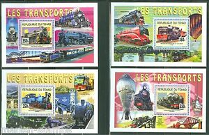 CHAD 2014 OLD TRAINS SET OF FOUR SOUVENIR SHEETS MINT NH