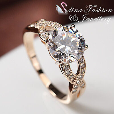 18K Rose Gold Plated Simulated Diamond 2.50 Ct Crossover Engagement Wedding Ring