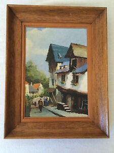 Huile-sur-Panneau-Village-de-Montagne-non-signee