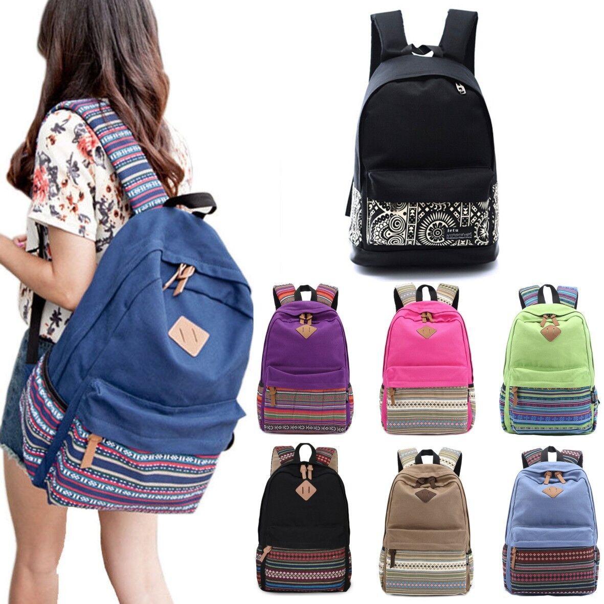 Womens Unisex Boho Zipper Backpack Shoulder Bag Laptop Trave