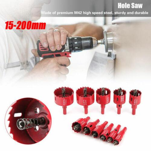 1xBi Metal M42 Hole Saw Cutter Pilot Drill Bit For Iron Aluminium Pipe 15-200 mm