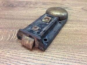 Antique-Y-amp-T-Retailer-Cast-Iron-Door-Lock-With-Integrated-Brass-Bell-B8