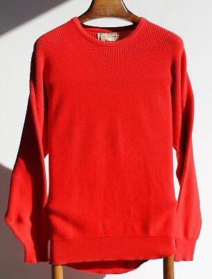 "Alan Paine 46"" Gent's 100% Cotton Bright Red Crewneck Sweater / Jumper - England"