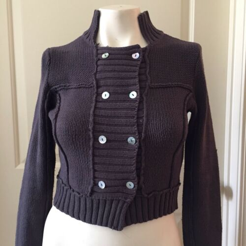 Free People Sz S Gray Collar Square Lined Button S