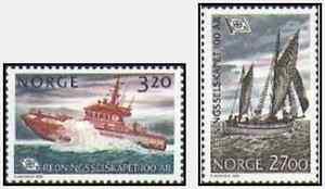 Timbres-Bateaux-Norvege-1023-4-lot-15019