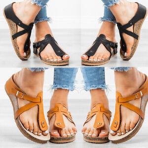 Women-039-s-Summer-T-Strap-Cork-Sandals-Boutique-Birko-Flor-Soft-Footbed-Sandals