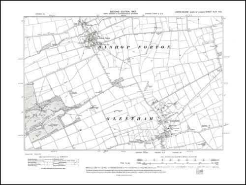 Atterby 1907 Glentham old map Lincolnshire 44NE repro Bishop Norton