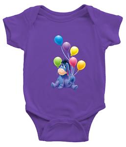 Infant-Baby-Boy-Girl-Rib-Bodysuit-Clothes-Gift-Eeyore-Gloomy-Donkey-Balloons