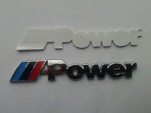 bmw power logo schriftzug emblem auto aufkleber m3 m5 m6. Black Bedroom Furniture Sets. Home Design Ideas
