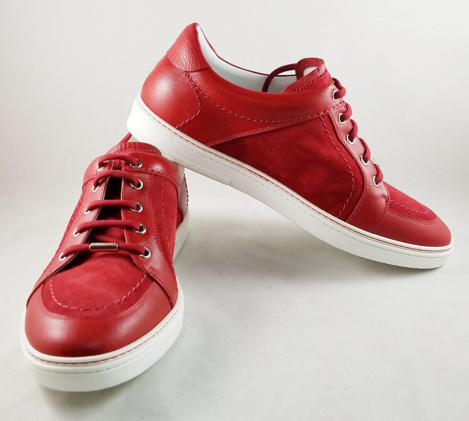 Jimmy Choo, cuero rojo masculino y zapatillas de cuero pelado.