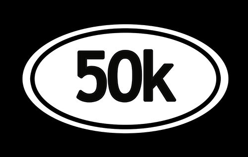 "/""50k/"" IRON MAN Marathon euro oval runner jogging Bumper Decal Sticker"