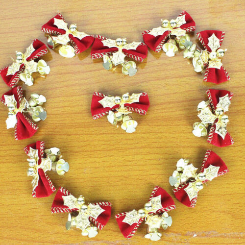 5Pcs Christmas Tree Bowknot Bells Hanging Hampers Crafts Decoration Gift for Chr