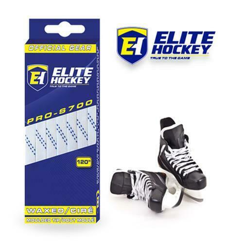 ELITE PRO-S700 Moulded Tip Waxed Hockey Skate Laces White//Blue