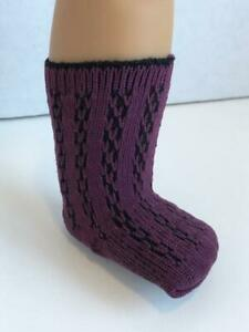Lacy-Patterned-Socks-Plum-for-18-034-American-Girl-Doll-Clothes-AG-Dark-Purple-New