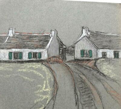 Beautiful Island Kerdenet Houses Fishing Drawing Pastel 1920 Paper Bistre Rapid Heat Dissipation Art Drawings