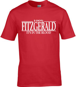 Fitzgerald Surname Mens T-Shirt 100/% Gift Name Family Cool Fun