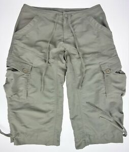 12 The North Face Beige Capri Pantalon Vert Olive/gris En Nylon-afficher Le Titre D'origine