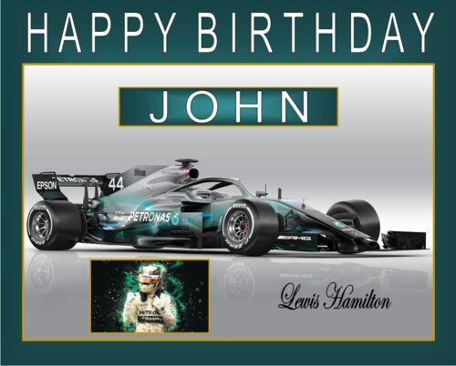 "Personalised Formula 1 Lewis Hamilton cake topper A4 Icing sheet 10/"" x 8/"" image"