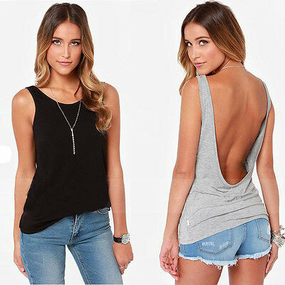 Fashion Women Backless Back Deep V Neck Casual Slim Shirt Top Blouse Lovely