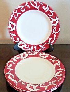 Image is loading Sandra-by-Sandra-Lee-Stoneware-Damask-Dinner-Plates- & Sandra by Sandra Lee Stoneware Damask Dinner Plates x3 Red White ...