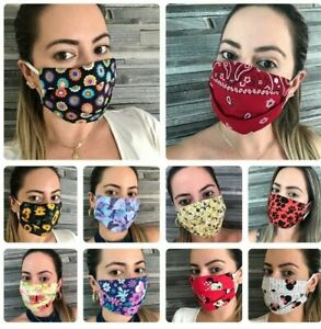 32 Styles Fashion Filter Pocket 100%Cotton Face Mask Washable Double Cotton USA