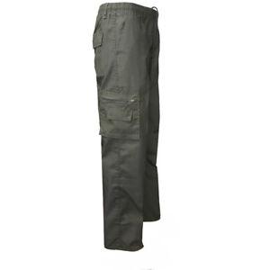 Men-Elastic-Waist-Cotton-Cargo-Pants-Combat-Camo-Army-Military-Style-Trousers-US