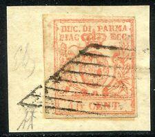 ASI Parma 1857/59 n. 9 - 15 cent. vermiglio - usato su frammento (l026)
