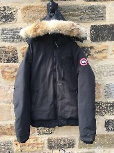 Mens-Canada-Goose-Borden-Bomber-Jacket-XXL-Coat-GENUINE-800-Parka-Fur-Black