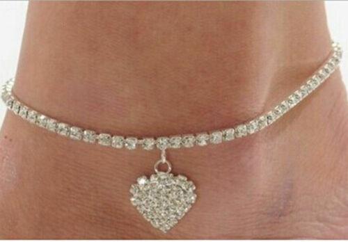 LADIES GIRLS CRYSTAL HEART ANKLET ANKLE BRACELET CHAIN SILVER PLATED UK SELLER