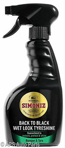 Simoniz-zurueck-Schwarz-Nass-Look-Reifen-Stossstange-Shine-Reinigung-Auto-Pflege-500ml-NEU