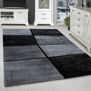 Tapis Moderne Design Salon Abstrait Splash Motif des Carreaux Noir ...