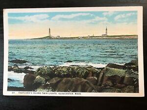 Vintage-Postcard-gt-1920-gt-Thatcher-039-s-Island-gt-Twin-Lights-gt-Gloucester-gt-Mass