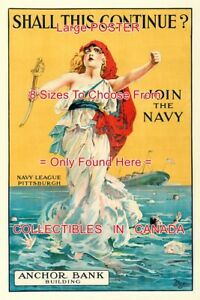 SHALL-THIS-CONTINUE-1918-Recruiting-WWI-Join-The-Navy-POSTER-8-Sizes-18-034-36-034