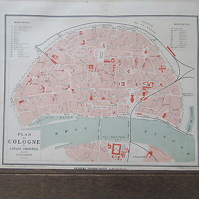 Carte Geographique Allemagne Cologne.Carte Geographique Ancienne 1875 Plan De Ville Cologne Allemagne Ebay