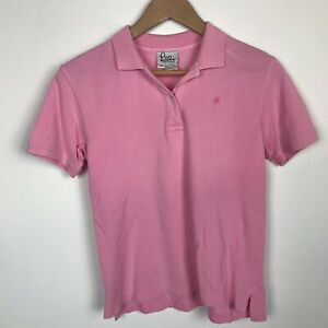 Lilly-Pulitzer-Womens-Shirt-Size-10-M-Pink-Pique-Cotton-Polo-Collar-Short-Sleeve