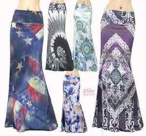 Women-039-s-LONG-SKIRT-USA-Flag-Tie-dye-high-waist-maxi-S-M-L-XL-1XL-2XL-3XL