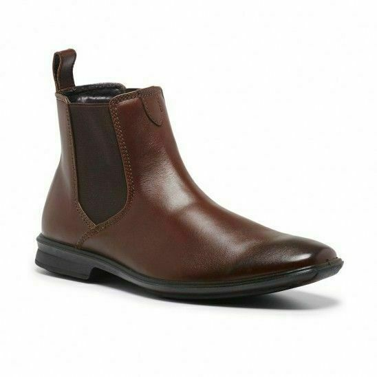 Mens Hush Puppies Chelsea Extra Wide Brown Leather Work Slip On Boots