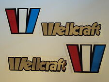 2 Wellcraft boat emblem stickers mirror CHROME Marine Vinyl