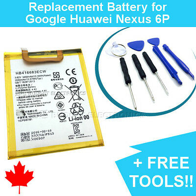 NEW Google Huawei Nexus 6P Replacement Battery 3450mAh with FREE Repair Tools