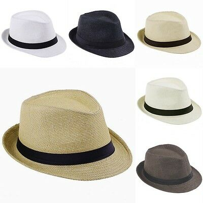 Unisex Men Women Fedora Gangster Cap Autumn Beach Sun Straw Panama Hat Sunhat