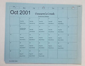 DAWSON-039-S-CREEK-set-used-paperwork-PRODUCTION-CALENDAR-Oct-2001-Apr-2002