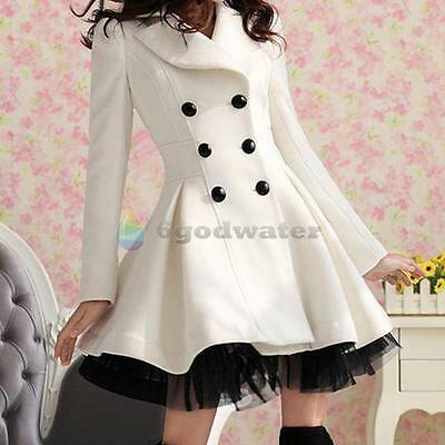 2015 New Women Double Breasted Trench Winter Coat Lady Peacoat Long Dress Jacket