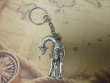 Key Chain Ring Platinum Color with giraffe pendant 9 cm long