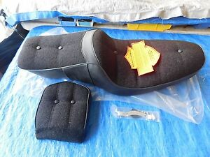NOS-OEM-HARLEY-DAVIDSON-SPORTSTER-1979-1981-BLACK-CLOTH-SEAT-amp-MATCHING-BACKREST