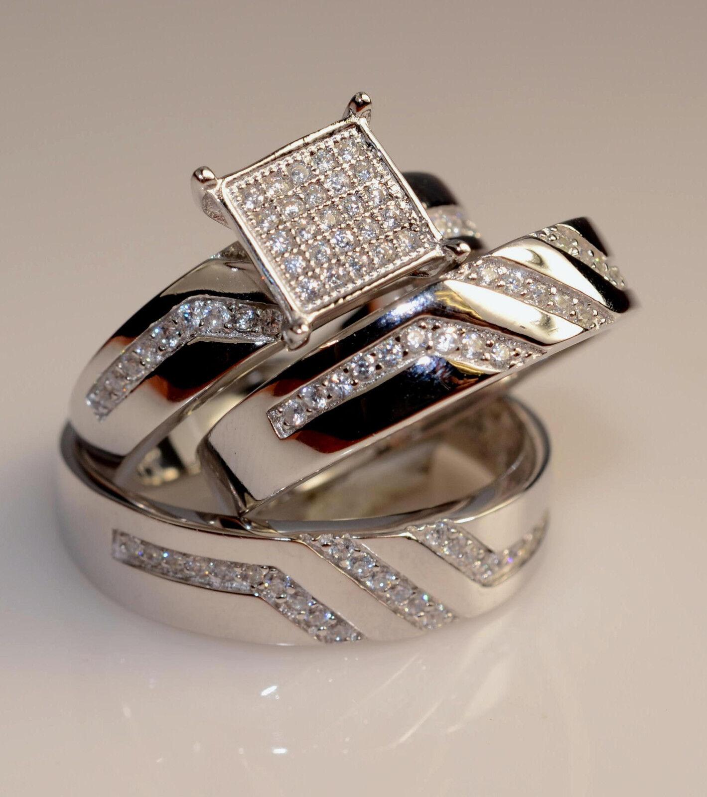 Men And Ladies White gold Finish Trio Set Wedding  Engagement Rings L8 M 11
