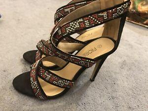 a8b923f0e Strappy Sandals High Heels Size 5/38 Matalan Black Red Aztec | eBay