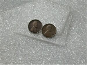 1909-amp-1910-Lincoln-Head-One-Cent-VF-Penny-2-Different-Wheat-Pennies-1c-Coins
